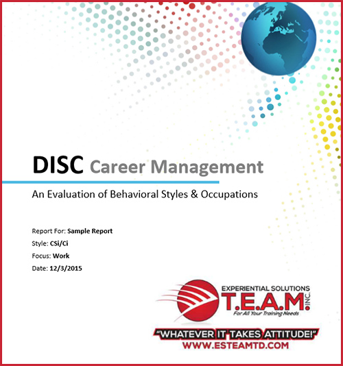 Click for DISC Career Management Sample Report